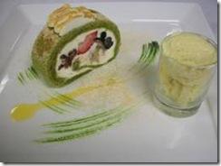 megu green tea cake ro;;ed with seasonal fruit
