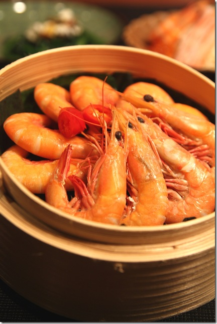 Steamed Live Pond Prawns in Bamboo Basket