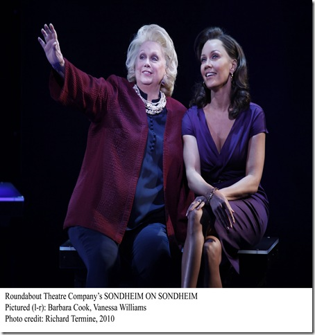 "Photo: Barbara Cook, Vanessa Williams and Tom Wopat in ""SONDHEIM ON SONDHEIM""; Directed by James Lapine; presented by Roundabout Theatre Comapany ; Performance photographed: Wednesday, April 14, 2010;  2:00 PM at  the Roundabout Theatre Company's Studio 54 Theatre, New York;  Photograph: © 2010 Richard Termine. PHOTO CREDIT - Richard Termine"