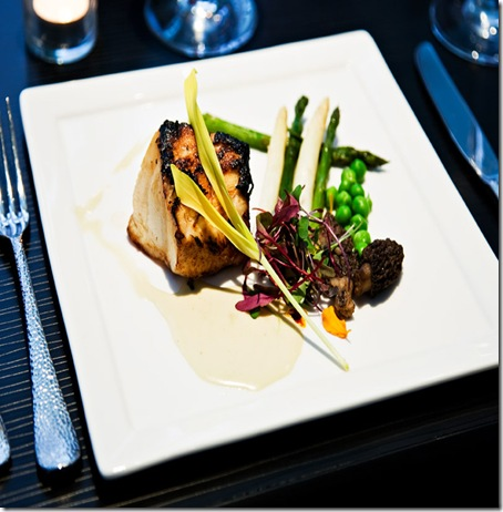 cityhouse's misoyaki chilean sea bass with english peas, white asparagus, purple tip asparagus, morels, kaffir lime cream