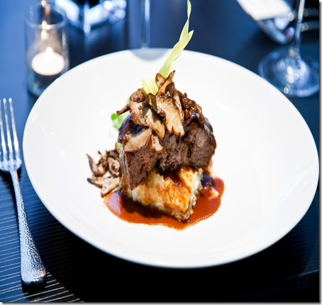 cityhouse's thai influenced braised short rib with crispy summer mushroms, potato au gratin