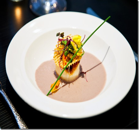 cityhouse's Togorashi seared scallop with purple cauliflower espresso