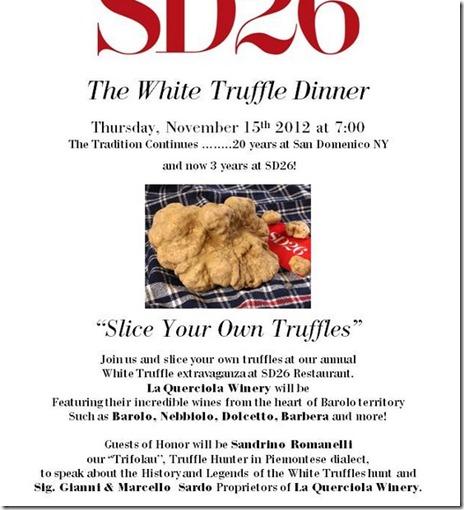 sd26 truffle dinner