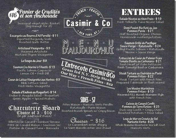 Casimir&Co Menu Dinner - 7.8.13 lo