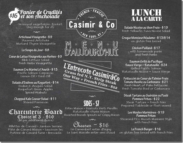 Casimir&Co Menu Lunch - 7.813lo